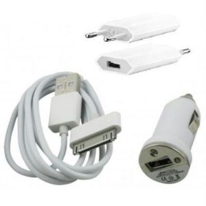Colonial 3 In 1 (car Charger Eu Plug Travel Charger -flat Micro USB Cable) For iPhone 4/ 4s / 4G
