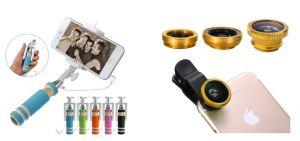 Ksj Mini Pocket Selfie Stick With Universal 3 In 1 Lens Kit (with Manufacturer Warranty)