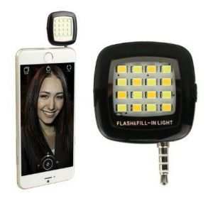 Enrg Selfie Flash Light Black 3.5mm Pin Jack 16 LED Cubes Flashlight