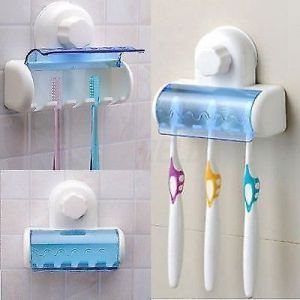 5 Toothbrush Wall Mount Toothbrush Holder Super Holding Suction Cup