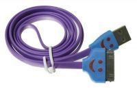 1m Smiley Face LED Light USB Data Sync Cable iPhone 4/ Ipad3 - Purple