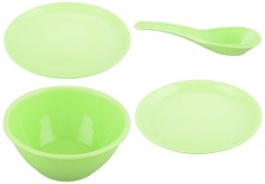 Byc Microwave Safe Plates Bowls Casseroles Green Dinner Set Of 24 PCs