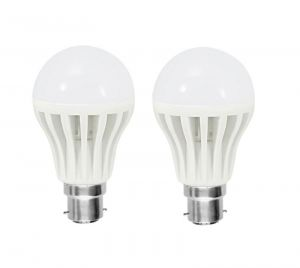 Shoppingekart Plastic Round Shaped White 3 Watt Super LED Bulb Pack Of 2 - (code -b-led2)