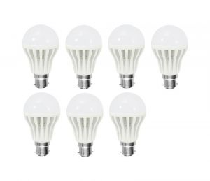 Shoppingekart Plastic Round Shaped White 3 Watt Super LED Bulb Pack Of 7 - (code -b-led7)