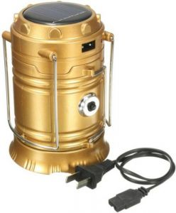 Cp Bigbasket Solar LED Emergency Light, USB Mobile Charger & 3 Power Source Hiking Lantern (gold)