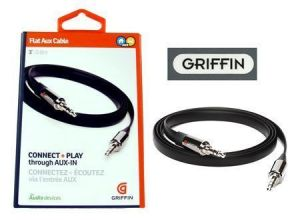 Griffin Flat Stereo Aux Cable 3.5mm Male iPhone Ipad S3 Galaxy Tab 0.9 M