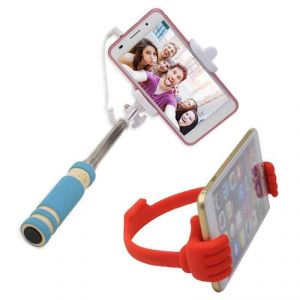 Novel Ok Stand Mobile Holder With Mini Selfie Stick Rubber Combo