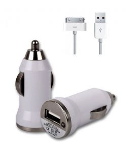 Brandpark White Car USB Charger 30 Pin Data Cable For iPhone 3gs/4g/4s