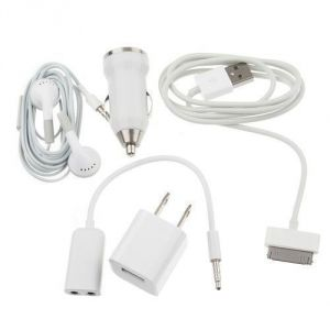 Accessories24x7 - 5 In 1 USB Charger, Car Charger, USB Cable, Earphone For Apple iPhone 4gs 3G 2G