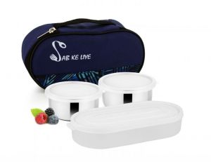 Uninox Sab Ke Liye Stainless Steel Lunch Box With Plastic Tray 3 Containers Lunch Box 700 Ml