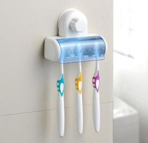5 Toothbrush Wall Mount Toothbrush Holder Suction Cup - Blue White