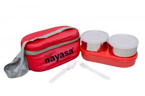 Nayasa Duplex Deluxe Lunch Box Red - Set Of 4 Ml - Set Of 1