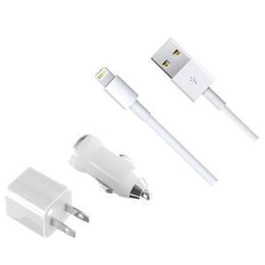 3 In 1 Set USB Wall Charger Car Charger Lighting Cable For Apple iPhone 5