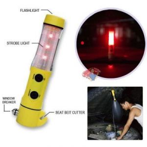 Car 5in1 Tourch Flashlight Hammer Seat Belt Cutter