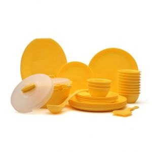 Dream Home Microsafe Dinner Set Yellow Round