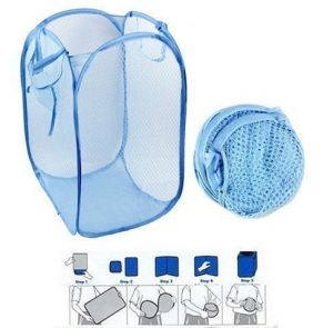 Dh Set Of 2 - Foldable Laundry Bag Basket With Mesh Fabric Pocket