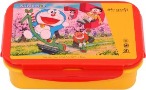 Doraemon Medium Plastic Lunch Box Set, 3-pieces, Red/yellow