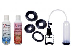 Go Erect Ed Basic Vacuum Therapy Pump With 4 Sleeves Plain Strawberry Lube Combo
