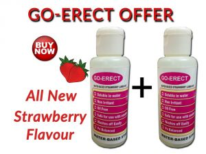 Go Erect Water Based Strawberry Lubricant 100ml +100ml