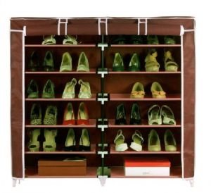 Unique Cartz Fancy 6 Layer Double Dark Brown Shoe Rack Organizer Polyester Standard Shoe Rack (12 Shelves)
