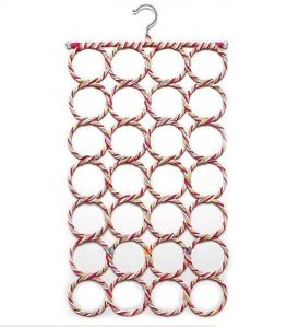 Unique Cartz 28-hole Ring Rope Slots Holder Hook Scarf Wraps Shawl Storage Hanger