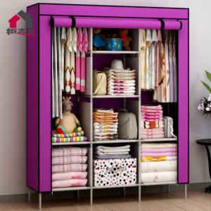 Home Decor ,Kitchen  - Unique Cartz  DIY 3 Door 88130 Folding Wardrobe Cupboard Almirah Best Quality