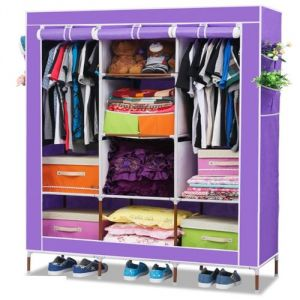 Uniue Cartz Diy 3 Door 88130 Folding Wardrobe Cupboard Almirah