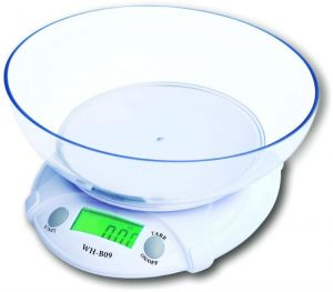 Cubee Electronic Kitchen Scale With Bowl Battery Operated