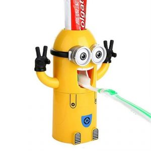 Cute Two Eyes Despicable Me Minion Minions Design Wash Set Toothbrush Holder Automatic Toothpaste Dispenser With Brush Cup