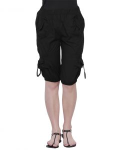 The Runner Black Cotton Capri Cp-001