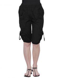 Capris, Dhotis (Women's) - THE RUNNER Black Cotton Capri CP-001