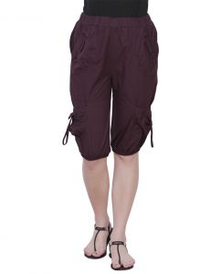 The Runner Burgundy Cotton Capri Cp-003