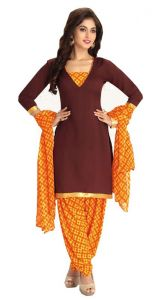 Nazaquat Brown Printed Crepe Unstitched Dress Material Dv9906