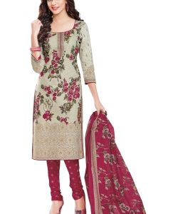 Elegant Crepe Designer Printed Unstitched Dress Material With Chiffon Dupatta (code-am1506)