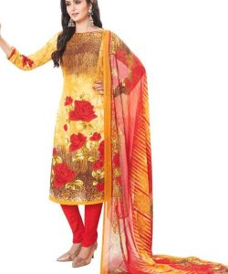 Elegant Crepe Designer Printed Unstitched Dress Material With Chiffon Dupatta (code-am1805)