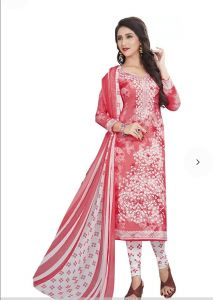 Peach Elegant Crepe Designer Printed Unstitched Dress Material Chiffon Dupatta (code-am1817-b)
