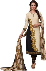 Beige Printed Crepe Unstitched Salwar With Chiffon Dupatta (code-am2108)