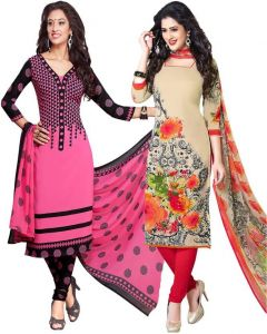 Elegant Crepe Designer Printed Pack Of Two Unstitched Dress Material Suit(code-combo10)