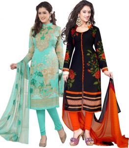 Elegant Crepe Designer Printed Pack Of Two Unstitched Dress Material Suit(code-combo19)