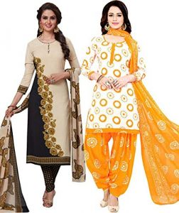 Dress Material Combos - Pack of Two Crepe  Salwar Suit with Chffion Dupatta Material Un-stitched(Code-Combo 4)