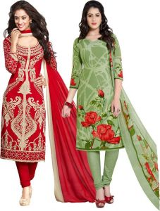 Elegant Crepe Designer Printed Pack Of Two Unstitched Dress Material Suit.(code-combo8)