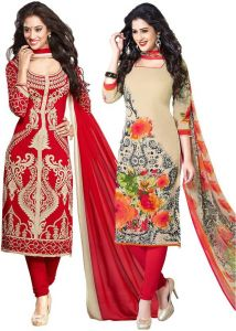 Elegant Crepe Designer Printed Pack Of Two Unstitched Dress Material Suit.(code-combo9)