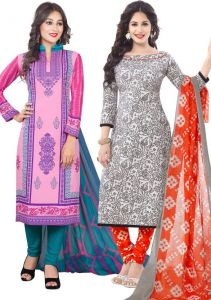 Pack Of Two Crepe Salwar Suit With Chffion Dupatta Material Un-stitched(code-combo Ef)