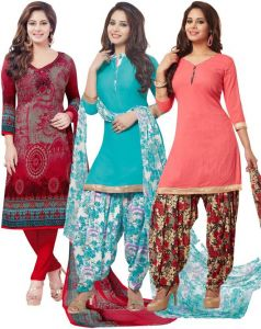 Pack Of Three Crepe Salwar Suit With Chffion Dupatta Material Un-stitched(code-combo F )