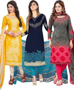 Pack Of Three Crepe Salwar Suit With Chffion Dupatta Material Un-stitched(code-combo G)