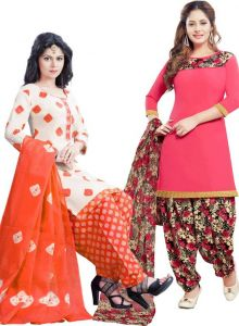 Pack Of Two Crepe Salwar Suit With Chffion Dupatta Material Un-stitched(code-combo K)