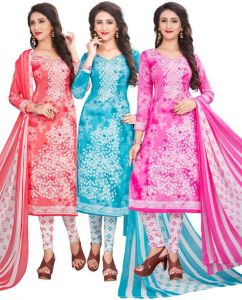 Dress Material Combos - Pack of Three Crepe  Salwar Suit with Chffion Dupatta Material Un-stitched(Code-Combo M)