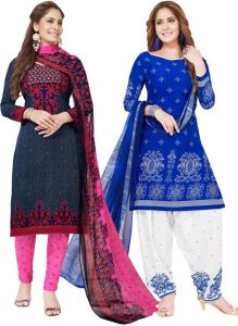 Pack Of Two Crepe Salwar Suit With Chffion Dupatta Material Un-stitched(code-combo N)