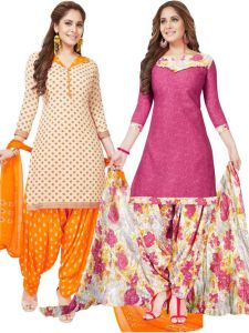 Pack Of Two Crepe Salwar Suit With Chffion Dupatta Material Un-stitched(code-combo X)