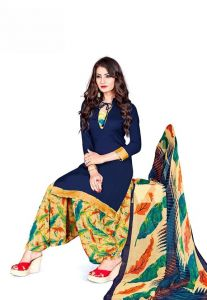 Elegant Crepe Designer Printed Unstitched Dress Material With Chiffon Dupatta (Code-GP13004)
